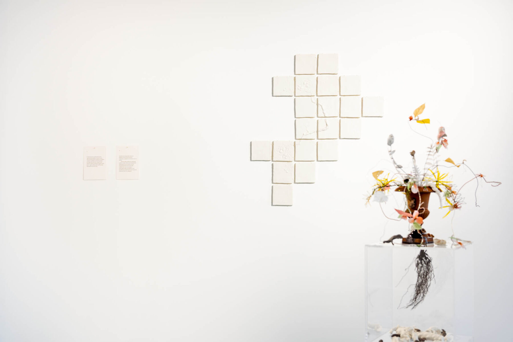 "Exhibition view: Eike Eplik ""Biomass – Ghost In the Corner"" with text by Mehis Heinsaar"